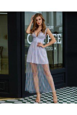 Plunging Neck Empire Waist Mesh Dress