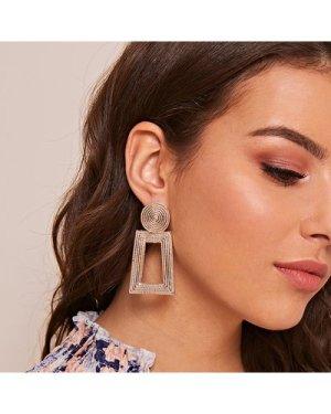 1pair Metallic Open Rectangle Drop Earrings