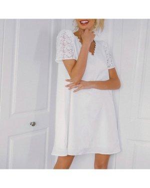Guipure Lace Yoke Puff Sleeve Dress