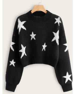 Star Drop Shoulder Crop Sweater