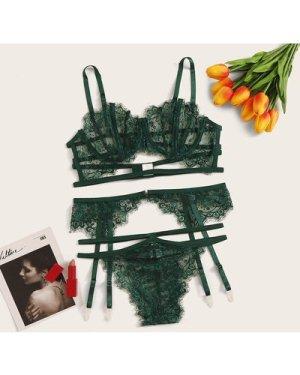 Floral Lace Underwire Lingerie Set & Garter
