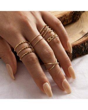 8pcs Simple Spiral Textured Ring Set