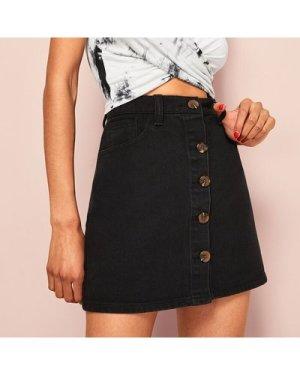 Single Breasted Slant Pocket Denim Skirt