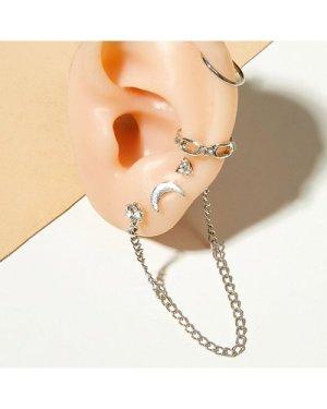 4pcs Chain & Moon Decor Earrings