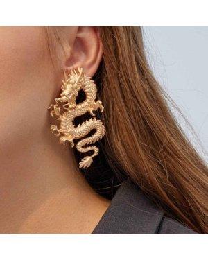 1pair Dragon Design Earrings