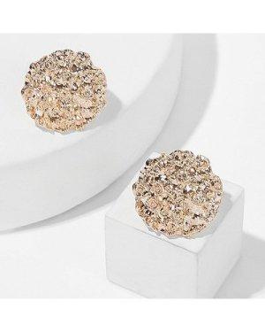 Textured Round Stud Earrings 1pair