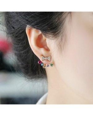 Bow Detail Gemstone Swing Stud Earrings 1pair
