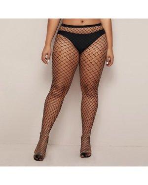 Plus Fishnet Overlay Stockings