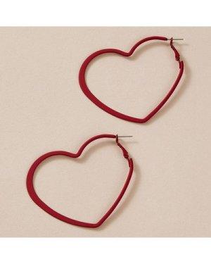1pair Simple Heart Hoop Earrings