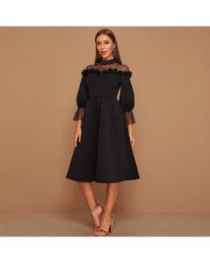 Mesh Yoke Pearl Beaded 3D Applique Dress