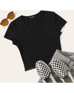V-neck Lace Hem Rib-knit Top