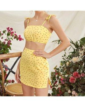 Tie Shoulder Ditsy Floral Cami Top & Slit Skirt Set