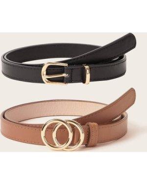 2pcs Double O-ring Buckle Belt