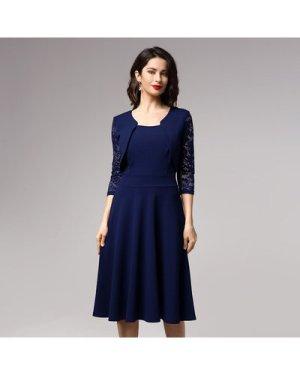 Sheer Lace Sleeve 2 In 1 Bolero Shrug Dress