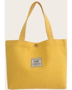 Slogan Patch Canvas Shopper Bag