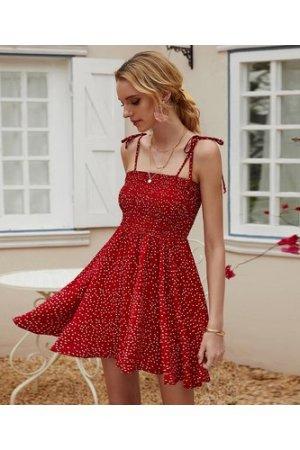 Polka Dot Shirred Cami Dress