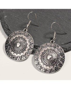 1pair Tribal Round Drop Earrings