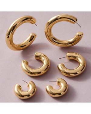 3pairs Simple Cuff Hoop Earrings