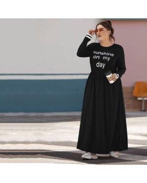 Plus Striped Cuff Slogan Graphic Dress