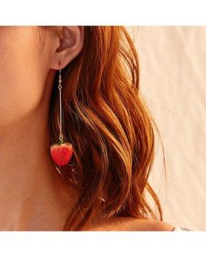 Strawberry Design Drop Earrings 1pair