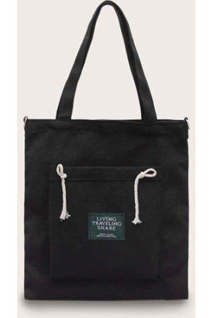 Slogan Patch Decor Canvas Shopper Bag