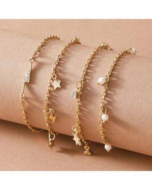 4pcs Star & Faux Pearl Charm Chain Bracelet