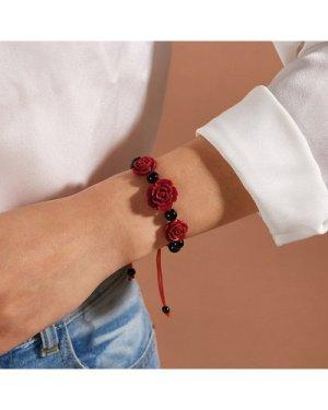 1pc Rose Decor Braided Bracelet