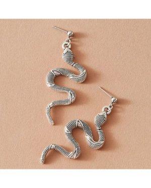 1pair Textured Serpentine Drop Earrings