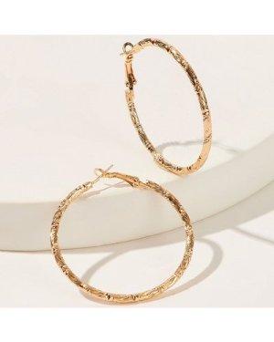 Textured Metal Hoop Earrings 1pair