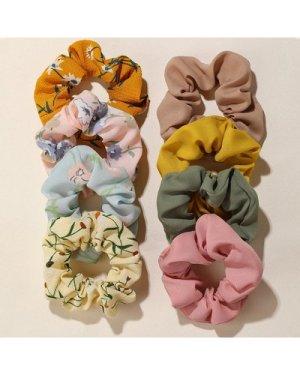 8pcs Floral Pattern Scrunchie