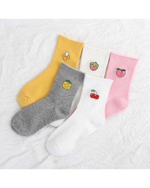 Fruit Graphic Multicolored Crew Socks - 5 Pairs