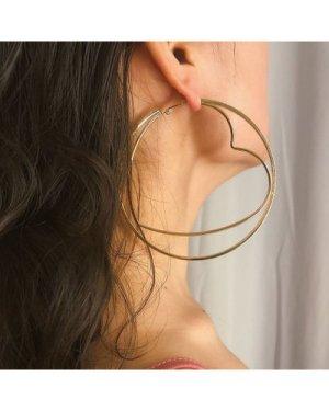 Heart & Circle Double Layered Hoop Earrings 1pair