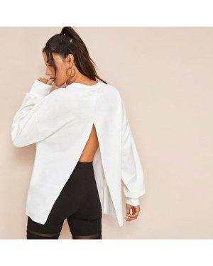 Drop Shoulder Split Open Back Pullover