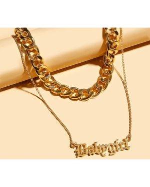 2pcs Letter Decor & Chain Necklace