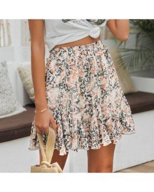 Tie Waist All Over Print Godet Skirt