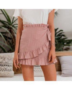 Frill Waist Ruffle Hem Knot Side Swiss Dot Skirt