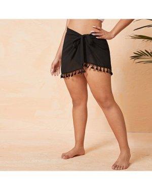 Plus Tassel Trim Knot Waist Cover Up Skirt