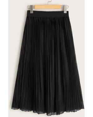 Solid Pleated Elastic Waist Skirt