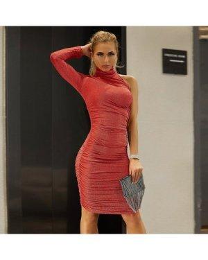 One Shoulder High Neck Ruched Glitter Dress