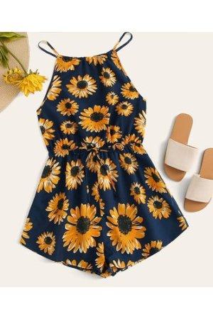 Plus Sunflower Print Tie Waist Halterneck Romper