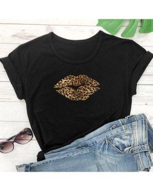Leopard Lipstick Print Short Sleeve Tee