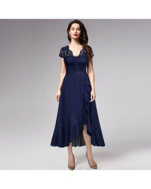 Lace Bodice Asymmetrical Ruffle Hem Dress