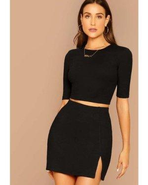 Solid Top & Split Hem Skirt Set