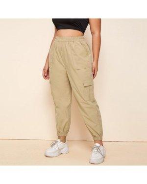 Plus Elastic Waist Flap Pocket Cargo Pants