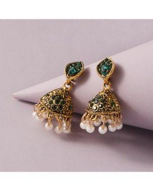 1pair Faux Pearl Decor Rhinestone Decor Drop Jhumka Earrings