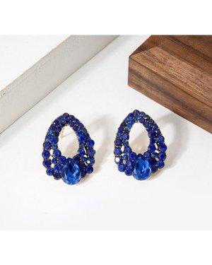 Rhinestone Decor Water Drop Design Stud Earrings