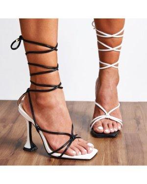 Tie Leg Spool Heeled Mismatched Sandals