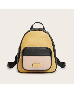 Pocket Front Velcro Strap Colorblock Backpack