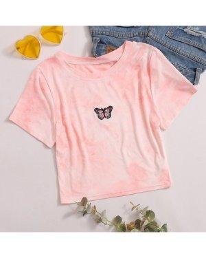 Tie Dye Butterfly Embroidery Crop Tee