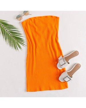 Neon Orange Rib-knit Tube Dress